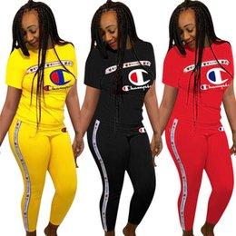 Frauen Champions Brief Trainingsanzug Kurzarm T-shirt Tops + Hosen Leggings 2 teiliges Set CHAMPI T-Shirt Outfit Jogger Sportswear Kleidung S-3X im Angebot