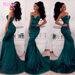Discount hot nude prom dresses - Emerald Green Evening Gowns 2019 Sweetheart Backless Sexy Mermaid Sweep Train Special Occasion Dresses Hot Sale Party Pr