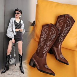 Open tOe cOwbOy bOOts online shopping - 2019 new fashion Genuine Leather Women Knee High Boots pointed toe western cowboy boots women High heel shoes
