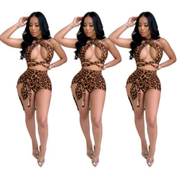 $enCountryForm.capitalKeyWord Australia - 2019 Summer New Arrival Beach Style Suits 2 pcs Women Set Color Leopard Halter Strapless Short Tops And Short Skirt Outfits