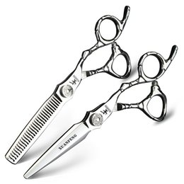 japanese steel hairdressing scissors Canada - XUANFENG 440C Hairdressing Tools Japanese Steel Sharp and Durable Hair Scissors High-end Hairdresser Scissors Cutting Thinng Silver Shear