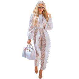 Discount white ruffle lace romper Elegant Ladies Womens Lace Jumpsuits Sexy See Through Slim High Waist Casual Long Sleeve Ruffles Hollow Romper Celebrity