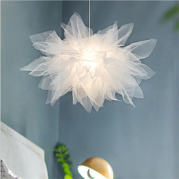 princess room lamps 2019 - Nordic Modern Cloth Lace Pendant Lights Romantic Princess Hanging Lamp for Living Room Bedroom Indoor Lighting Fixtures