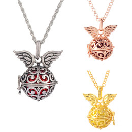 musical chimes Canada - Harmony Bola Angel Wing Locket Pandent Necklace Musical Chime Ball Chain Orchid