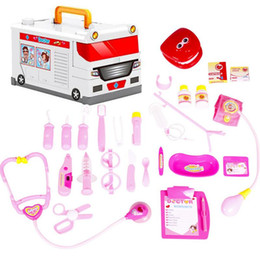 Wholesale Kids Ambulance Doctor Toys Pretend Play Children Medicine Chest Doll Uniform Stethoscope Cosplay Nurse Dentist Medical Box set
