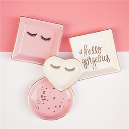 Simplicity Ring UK - 1PCS Ceramic Square Jewelry Dish Plates Rings Round Snack Candy Heart-shaped Storage Tray Snack Wedding Decoration Crafts