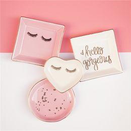 $enCountryForm.capitalKeyWord UK - 1PCS Ceramic Square Jewelry Dish Plates Rings Round Snack Candy Heart-shaped Storage Tray Snack Wedding Decoration Crafts
