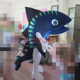 cartoon shark costume Canada - New Shark mascot costume Top grade deluxe cartoon character costumes Shark mascot suit Fancy dress party carnival Free Shipping