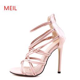 5316973139a Vestido con correa cruzada Sandalias Tacones altos Gladiador para mujer  Zapatos de verano para mujer Estilo americano europeo Nuevas sandalias de  verano con ...