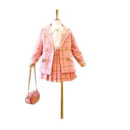 Korean fashion summer long sKirt online shopping - New Korean children s fashion plaid college suit jacket foreign princess pleated skirt