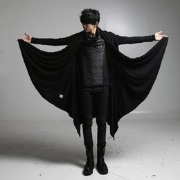 Wholesale punk trench coats resale online - Men black gothic punk hip hop long trench coat cloak nightclub singer DJ stage cape costume men oversized jacket gothic overcoat