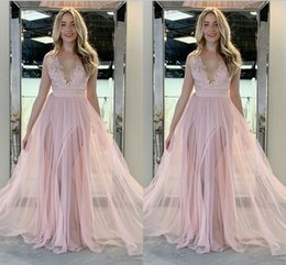 $enCountryForm.capitalKeyWord Australia - 2019 Blush Pink Deep V neck Evening Prom Dress Sheer Straps Chiffon High Slits Sleeveless for Women Girls Backless Cheap Formal Party Dress