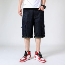 $enCountryForm.capitalKeyWord Australia - Mens Hiphop Denim Baggy fit Jeans designer Loose Cargo Big size Black Shorts Male