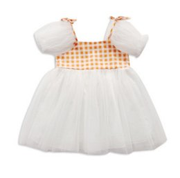 plaid suspender dress UK - 2020 Baby Summer Clothing 0-6T Infant Kids Girls Fake Two-piece Dress Fashion Plaid Suspender Mesh Yarn Children Princess Dress