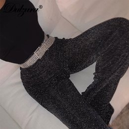 $enCountryForm.capitalKeyWord Australia - Dulzura Women Pants Solid Glitter Sparkle Bling Trousers 2019 Autumn Winter Fashion Office Lady Black Wide Leg Pants MX190716