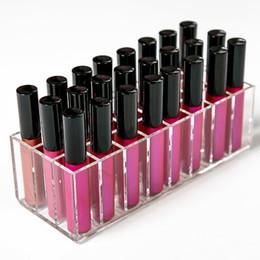 Discount glossy lipsticks - Acrylic Lip Gloss Holder Lipstick storage box Display Stand Makeup Storage Box Cosmetic Makeup Organizer cosmetic