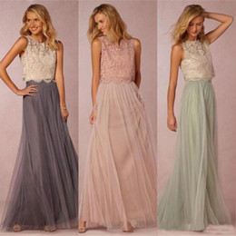 $enCountryForm.capitalKeyWord Australia - 2019 Vintage Two Pieces Bridesmaid Dresses Tulle Ruched Floor Length Blush Mint Grey Bridesmaids Gowns Lace Wedding Party Dress