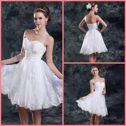 $enCountryForm.capitalKeyWord Australia - Free shipping short wedding dress Knee-Length White lace A-line Sweetheart Neck Ruched Organza Wedding gowns flower bride dress