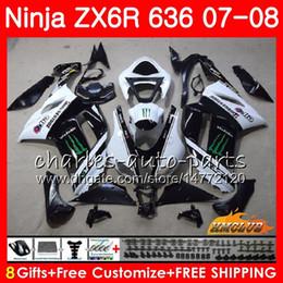 $enCountryForm.capitalKeyWord Australia - Bodys For KAWASAKI NINJA ZX 636 ZX-600 ZX-6R black white hot ZX636 2007 2008 34NO.142 ZX 6R 6 R 07 08 ZX600 600CC ZX-636 ZX6R 07 08 Fairings