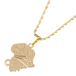 africa map pendant necklace NZ - Africa Girls Map Pendant Necklace For Women Gold Color Ethiopian Jewelry Wholesale African Maps