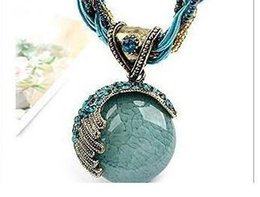 Necklaces Pendants Australia - Bohemia Style Opal Pendant Charm Necklace Womens Handmade Millet Chain Delicate Crystal Necklaces Christmas Gift -P