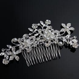 Pearl Floral Wedding Hair Combs Australia - ashion Jewelry Charm Flower Rhinestone Hair Slide Floral Crystal Bridal Head Piece Pearls Wedding Hair Comb For Bridesmaid Jewelry Acce...