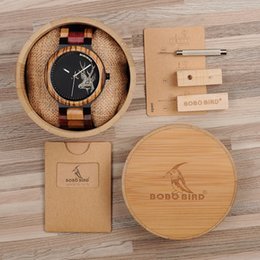 Wrist Watches Logos Australia - BOBO BIRD Current Multicolor Wooden Watch Band Japanese 2035 Quartz Watch Men with Deer Custom Logo Wrist Watches Creative Gift