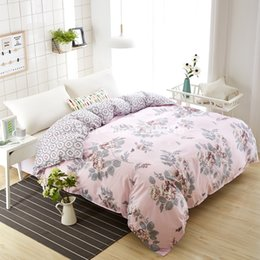 Plain Pink Black Bedding UK - High Density Polyester Cotton Duvet Cover Simple Pink Flower Bedding Double Single Duvet Quilts Comforter Case Twin Full Queen