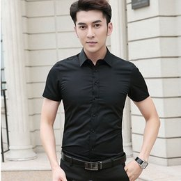business shirt white NZ - 2019 Short Sleeve Office Men Business Shirt Slim Fit Solid White Shirts to Match Suits 190723-CSCSDX