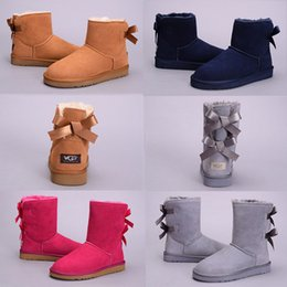 PurPle knee boots online shopping - 2018 New WGG Bowtie Australia Classic Fashion Knee Boots Ankle boots Black Grey Chestnut Coffee Navy Blue Red Women Girl Snow Boots Eu36
