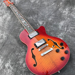 Fingerboard Rosewood Inlay Australia - Grote 12 Strings Semi Hollow body F holes Electric Guitar, Abalone Flower inlaid fingerboard, Cherry burst Flame Maple