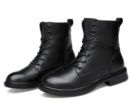 spring boots NZ - Fashion Style Black Men Casual Wear Boots Lace-up Male Shoes Solid Winter Comfortable Wear Cool Spring Autumn Boots Dh2N7