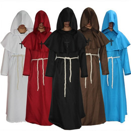 cosplay adulto do dia das bruxas venda por atacado-Costumes Halloween Adulto Homens medievais Monks Assistente de Cosplay do Dia das Bruxas para homens adultos religiosa Godfather Partido Assistente capuz Robe RRA2072