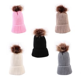 $enCountryForm.capitalKeyWord NZ - Cute Baby Pompon Hat Children Outdoor Winter Warm Knitted Cap Girls Boys Casual Travel Solid Color Beanies Hat TTA1309