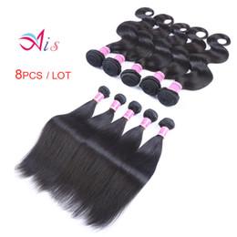 $enCountryForm.capitalKeyWord Australia - AiS 8pcs lot Wholesale Brazilian Virgin Hair Peruvian Human Hair Bundles Weave Weaves Body Wave Straight Indian For Weaves Extensions