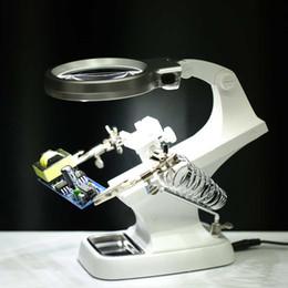 Лупа клип 10 LED увеличительное стекло сварка пайка ремонт держатель станции на Распродаже