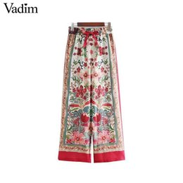 flared floral trousers Australia - Vadim Women Vintage Floral Wide Leg Pants Drawstring Tie Elastic Waist Pockets Female Casual Trousers Pantalones Mujer Ka078 Y19070101