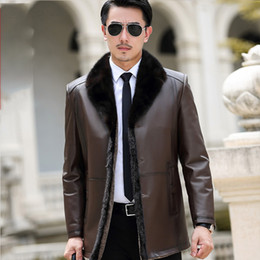 Wholesale wool leather jacket resale online - Genuine Leather Jacket Mens Real Sheepskin Coat Wool Liner Collar Warm Down Coat for Men Jaqueta Couro YY383