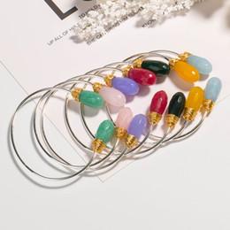$enCountryForm.capitalKeyWord Australia - Adjustable Natural Stone Bangle Crystal Agate Stones Open Bracelet Alloy Baroque Charm Bangles Mother's Day Gift Women Jewelry Bracelets