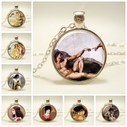 necklaces pendants Australia - New Fashion Handmade Jewelry Silver Long Chain Glass Dome Pendant Genesis Mural Picture Pendant Necklace Friendship Gift