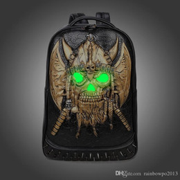 Pirate Packaging online shopping - Factory sales of male package brand personality of current fashion D stereo fluorescence package pirate punk backpack schoolbag cool fan