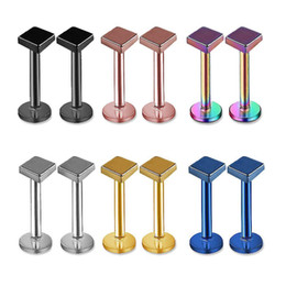 Lip Piercing Wholesale NZ - Wholesale square Labret Lip Chin Ring Nose Ear Bar Stud Stainless Steel Piercing Fashion Body Jewelry Free Shipping
