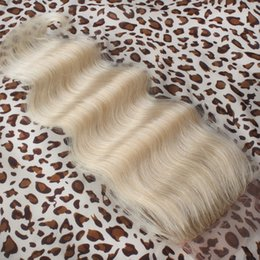 clearance brazilian human hair 2019 - Clearance 4x4 Blond Top Closures Body Wave Malaysian Virgin Human Hair Lace Closure Color 613 Platinum Blonde Wavy Closu