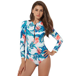 swimwear push ups UK - AONIHUA Swimwear Women New Sport One Piece Slim Bodysuit Push Up Long Sleeve Female Lady Beach Surfing Bathing Black Swimsuit