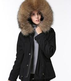 Fur trimmed winter coats online shopping - INS popular sale Brown raccoon fur trim Meifeng brand women winter coats black mik fur lining black mini snow parkas