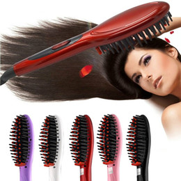 Red Straightening Irons Australia - Find Similar 2019 Electric hair straightener brush Hair Care Styling Comb Auto Massager Straightening Irons SimplyFast Hair iron