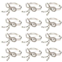 $enCountryForm.capitalKeyWord NZ - 12pcs Round Ring Bowknot Napkin Holder Rhinestone Table Decoration