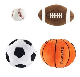 Discount boys toys 11 - Imitation football basketball baseball Toy Kids Creative sphere toys Cartoon spherical pillow Baby Plush Dolls For Boy G