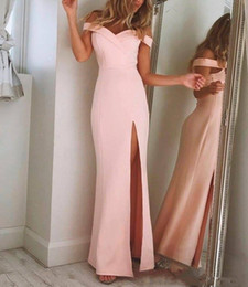Unique Designs Pageant Dresses Australia - 2019 Charming Simple Elegant Pink Off the Shoulder Prom Dresses Long Pageant Gowns High-Thigh Split Unique Design Formal Evening Wear Custom