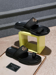 Men italian slippers online shopping - New Italian GG brand summer men s toe slippers quality indoor beach flat walking men s casual shoes size